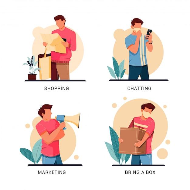 Conjunto de ilustração de caráter da atividade do homem, conceito de design plano Vetor Premium