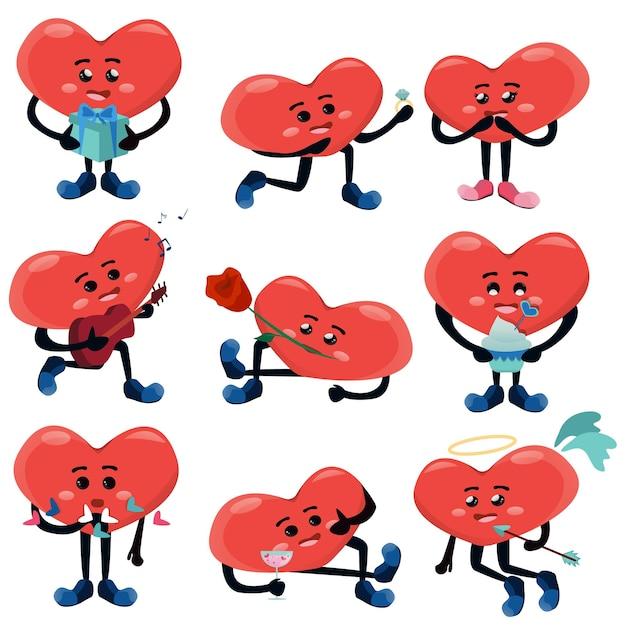Conjunto de ilustração de casal de ações diferentes de bonitos corações humanizados Vetor Premium