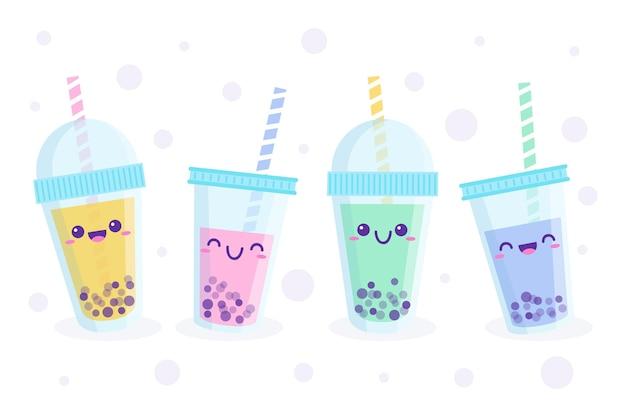 Conjunto de ilustração de chá de bolhas kawaii Vetor Premium
