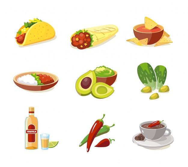 Conjunto de ilustração de comida tradicional mexicana Vetor Premium