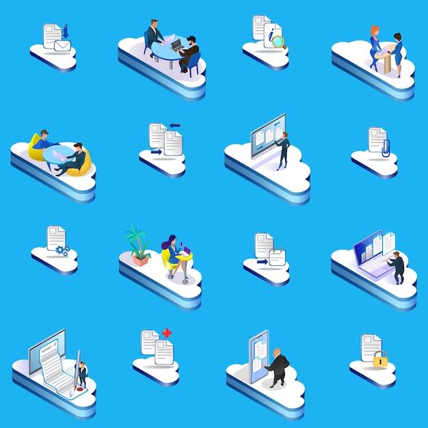 Conjunto de ilustração de conceito de gerenciamento de nuvem. Vetor Premium