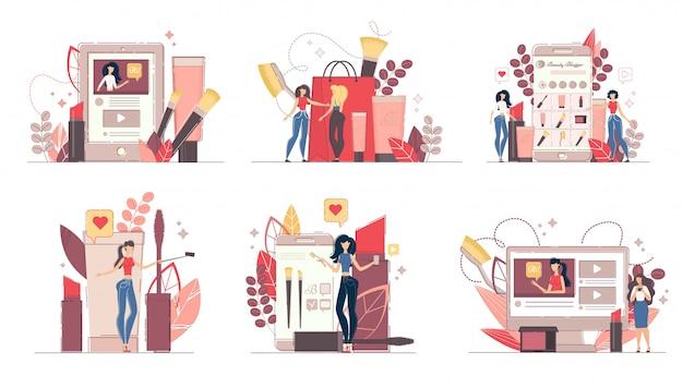 Conjunto de ilustração de conceito de moda beleza blog Vetor Premium