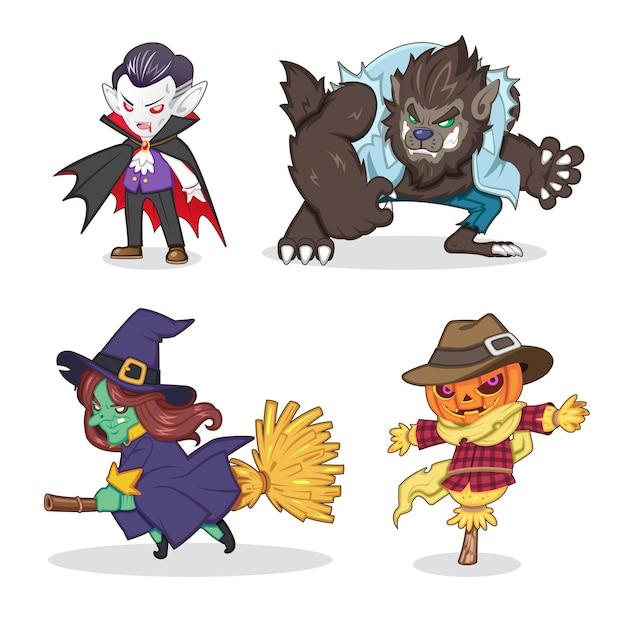 Conjunto de ilustração de desenho animado de monstro de halloween (vampiro, lobisomem, bruxa, espantalho) Vetor Premium