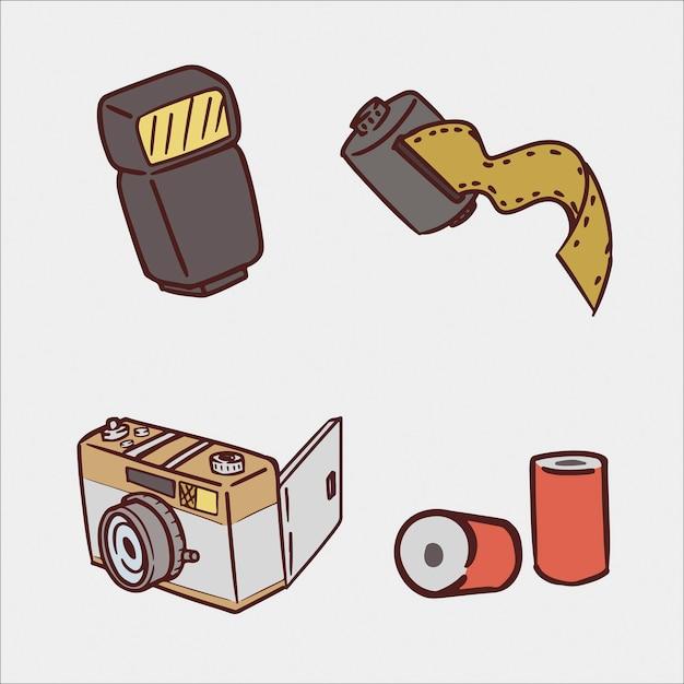Conjunto de ilustração de desenho de mão de câmera analógica Vetor Premium