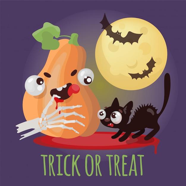 Conjunto de ilustração de desenhos animados de halloween doçura ou travessura Vetor Premium