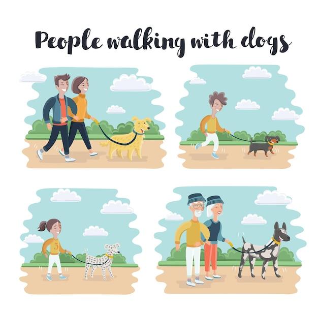 Conjunto de ilustração de desenhos animados de pessoas passeando com cães de raças diferentes Vetor Premium