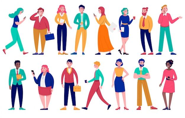 Conjunto de ilustração de diversos grupos de executivos, personagens de desenhos animados homem mulher, diversidade de diferentes raças em branco Vetor Premium