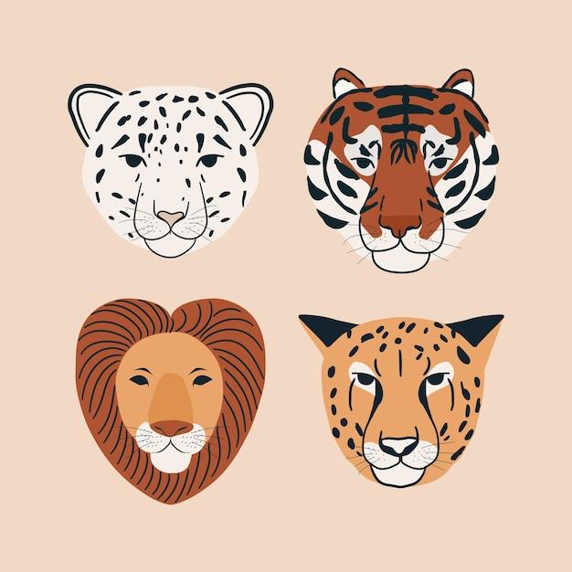 Conjunto de ilustração de elementos de leopardo da neve, tigre, leão e chita do retrato de animal da selva Vetor Premium