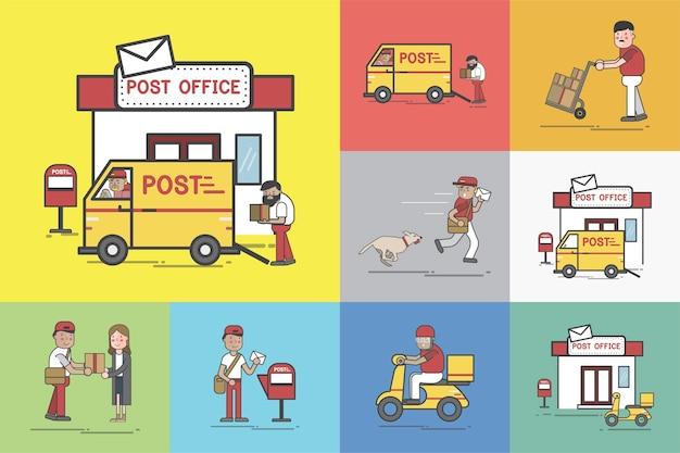 Conjunto de ilustração de entrega post Vetor grátis