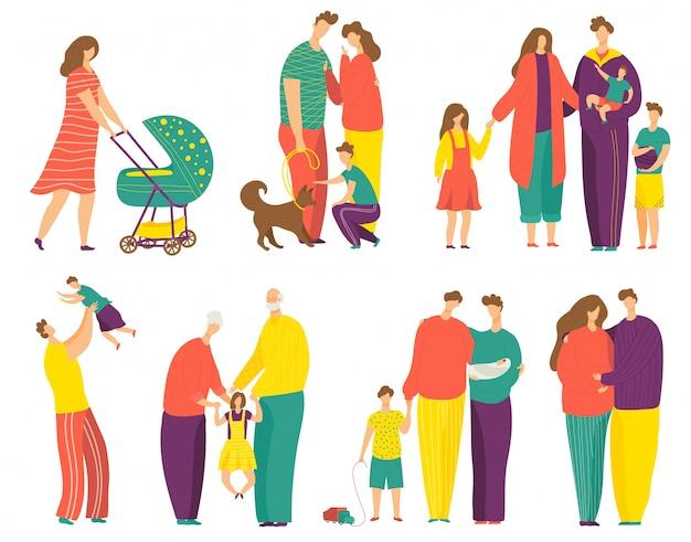 Conjunto de ilustração de família feliz, desenhos animados de pai, mãe e filha ou filho personagens infantis juntos em branco Vetor Premium