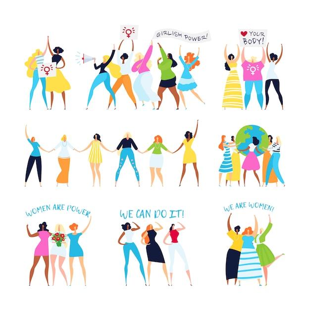 Conjunto de ilustração de feminismo e personagens feministas, empoderamento da mulher, irmandade, idéias femininas Vetor Premium