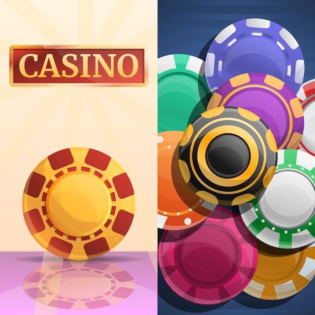 Conjunto de ilustração de fichas de casino sorte Vetor Premium