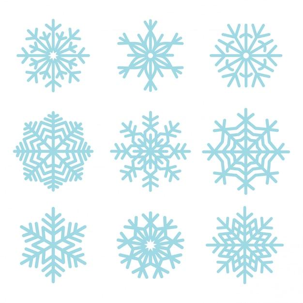 Conjunto de ilustração de flocos de neve Vetor grátis