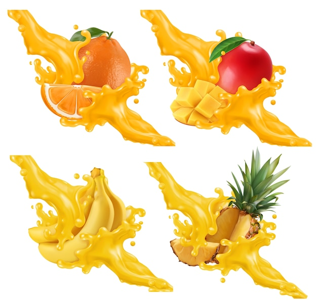 Conjunto de ilustração de frutas e bagas em esguicho de suco Vetor Premium