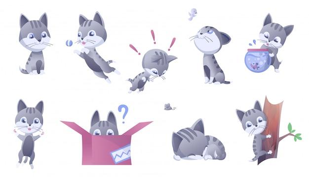 Conjunto de ilustração de gatinho. casa gatos domésticos em muitas posições e atividades. Vetor Premium