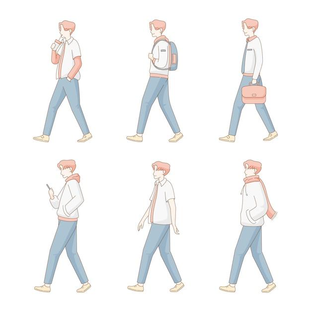 Conjunto de ilustração de homem moderno andar plana Vetor Premium