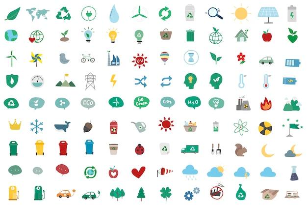 Conjunto de ilustração de ícones ambientalmente Vetor grátis