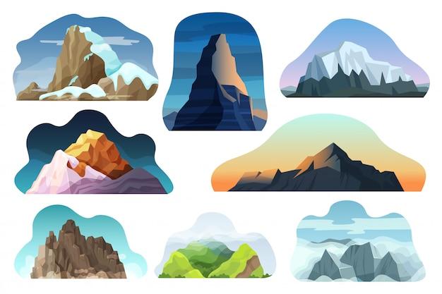 Conjunto de ilustração de paisagem de colina de montanha, pedra alta natureza diferente dos desenhos animados, pico com ícones de nuvens isolados no branco Vetor Premium