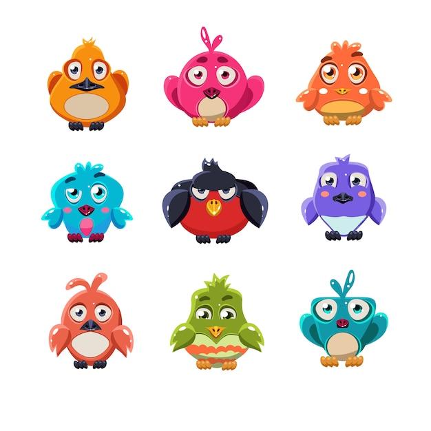 Conjunto de ilustração de pássaros coloridos fofos Vetor Premium