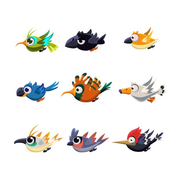 Conjunto de ilustração de pássaros voadores fofos Vetor Premium