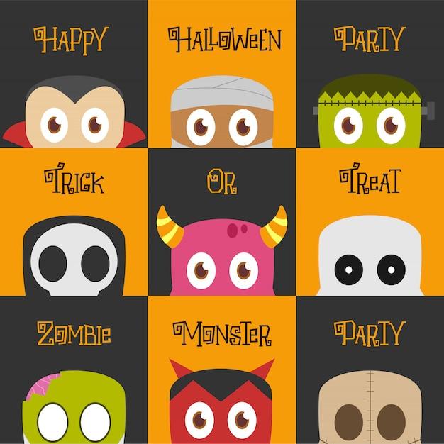 Conjunto de ilustração de personagem de halloween Vetor Premium