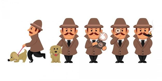 Conjunto de ilustração de personagem de investigação de detetive Vetor Premium