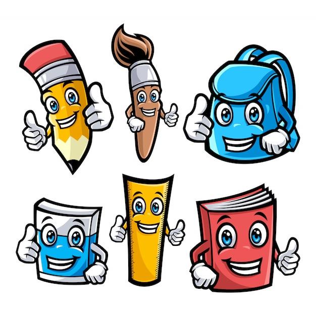 Conjunto de ilustração de personagens da escola Vetor Premium