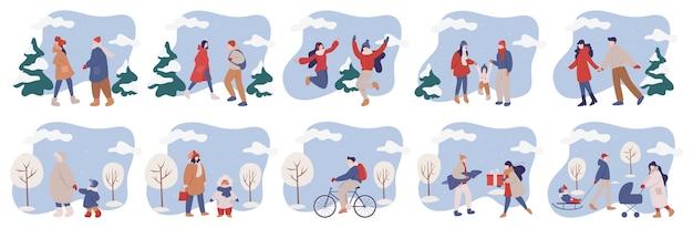 Conjunto de ilustração de pessoas vestindo roupas quentes de inverno. atividades de inverno feliz com a família. as pessoas andam do lado de fora na estação fria. Vetor Premium