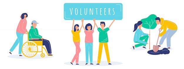 Conjunto de ilustração de pessoas voluntárias Vetor Premium