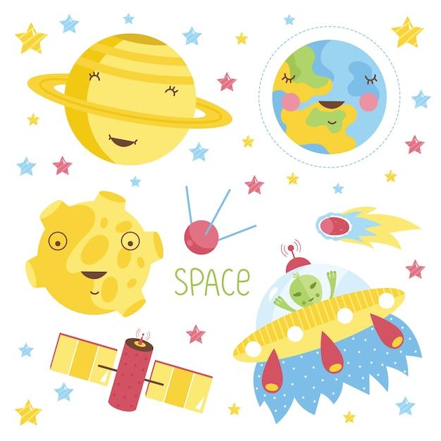 Conjunto de ilustração de planetas dos desenhos animados Vetor Premium