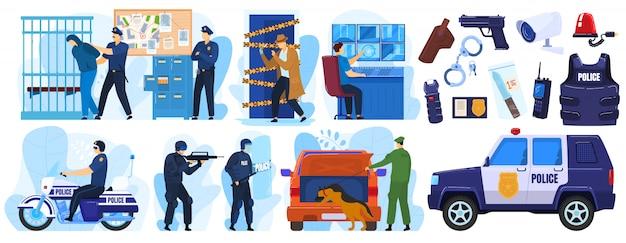 Conjunto de ilustração de polícia, policial dos desenhos animados e personagens criminais em emergência de prisão, polícia Vetor Premium