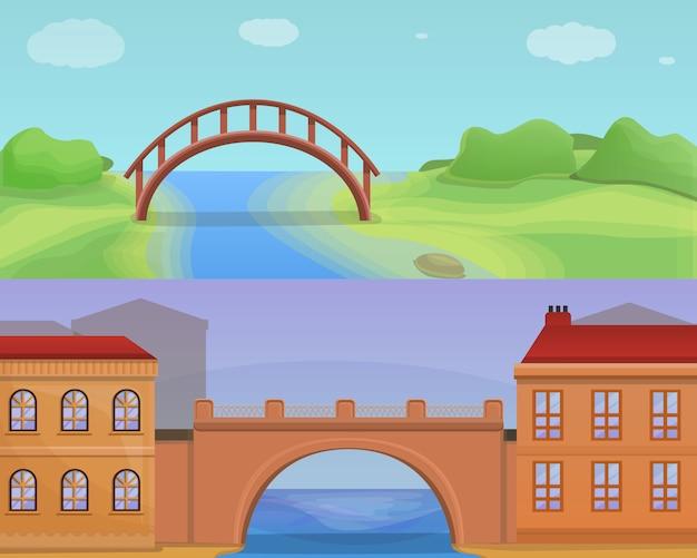 Conjunto de ilustração de pontes de cidade, estilo cartoon Vetor Premium