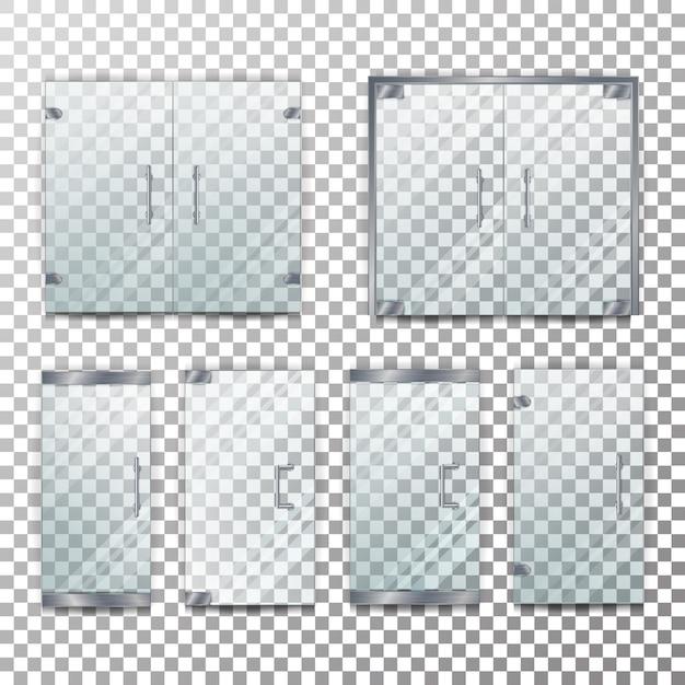 Conjunto de ilustração de porta transparente de vidro Vetor Premium