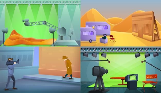 Conjunto de ilustração de produção de filme, estilo cartoon Vetor Premium