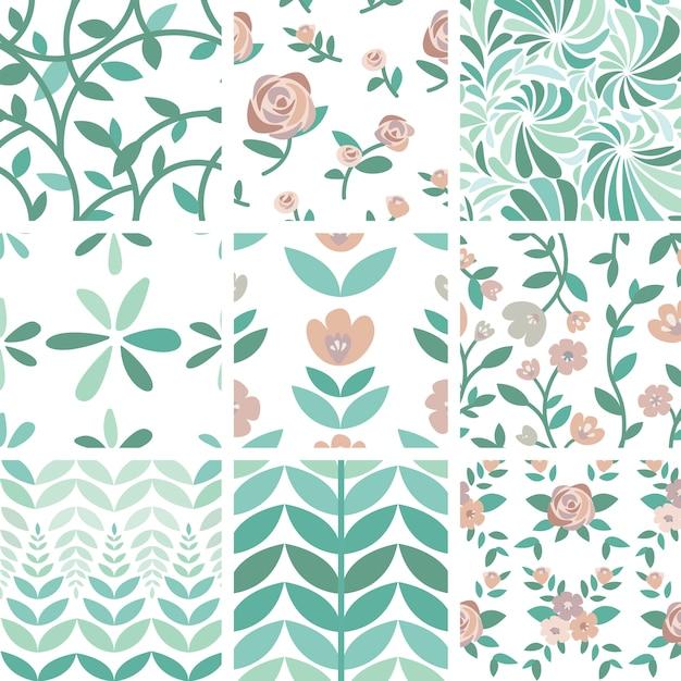 Conjunto de ilustração de rosas e plantas desenhada mão Vetor grátis
