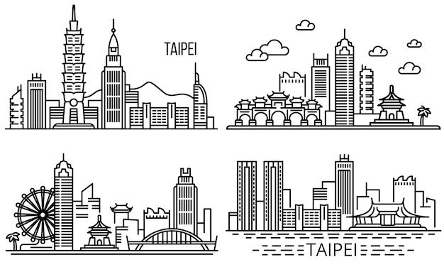 Conjunto de ilustração de taipei, estilo de estrutura de tópicos Vetor Premium