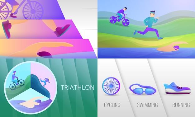 Conjunto de ilustração de triatlo. caricatura, ilustração, de, triathlon Vetor Premium