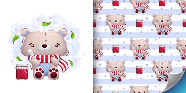 Conjunto de ilustração de ursinho doente e padrão Vetor Premium