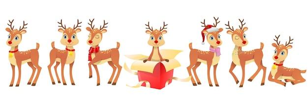 Conjunto de ilustração de veados engraçados de natal Vetor Premium