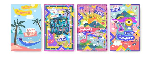 Conjunto de ilustração de verão para cartaz Vetor Premium