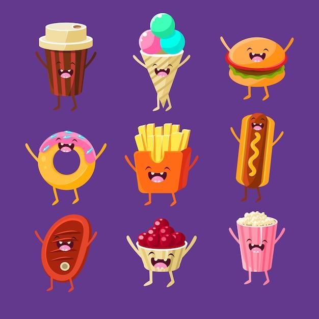 Conjunto de ilustração divertida comida rápida Vetor Premium
