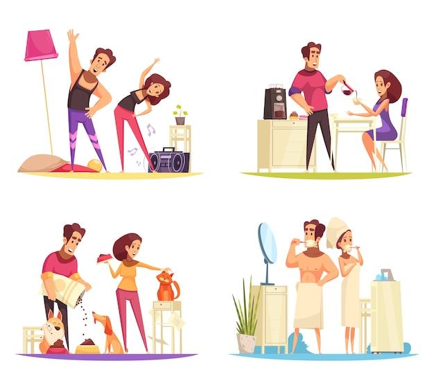 Conjunto de ilustração do conceito de manhã Vetor grátis
