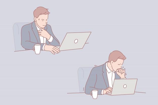 Conjunto de ilustração do empresário doente Vetor Premium