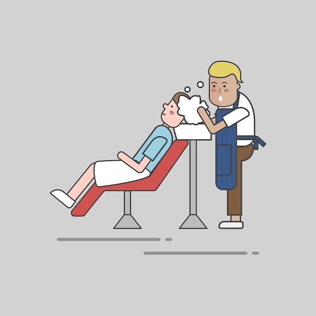 Conjunto de ilustração do vetor de loja de barbeiro Vetor grátis
