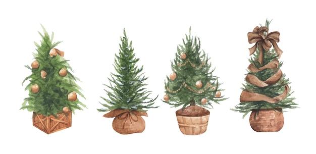 Conjunto de ilustração em aquarela de árvores de natal em vasos Vetor Premium