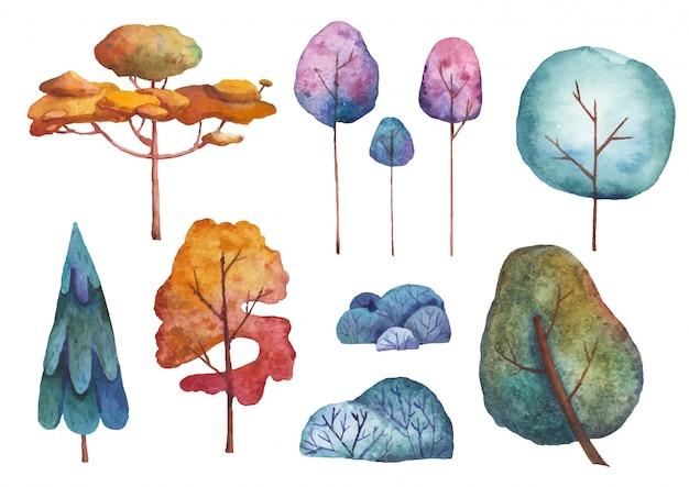 Conjunto de ilustração em aquarela de árvores Vetor Premium