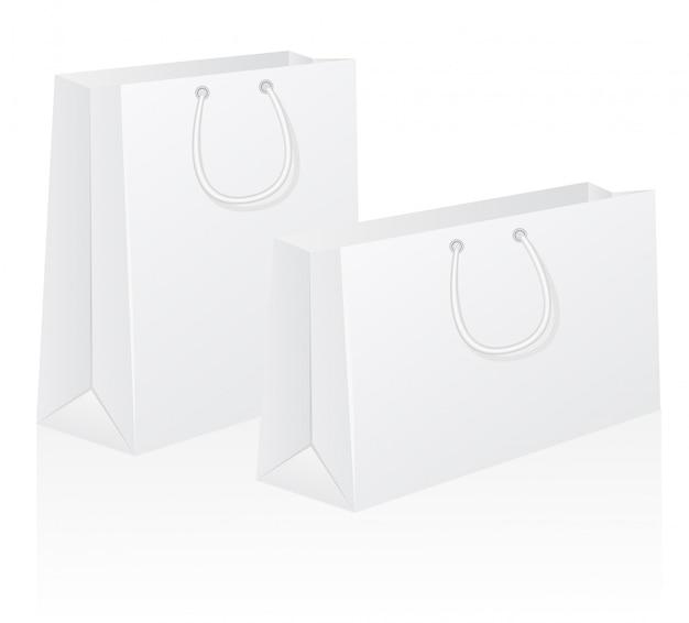 Conjunto de ilustração em vetor branco shoping shoping saco Vetor Premium