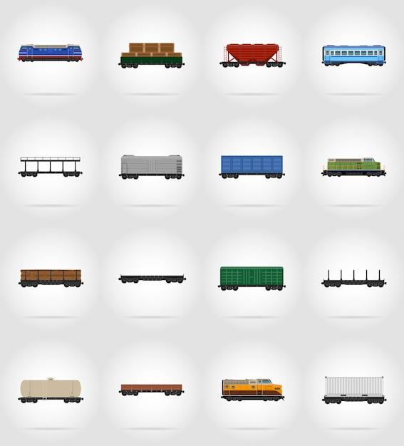 Conjunto de ilustração em vetor plana trem transporte ferroviário Vetor Premium