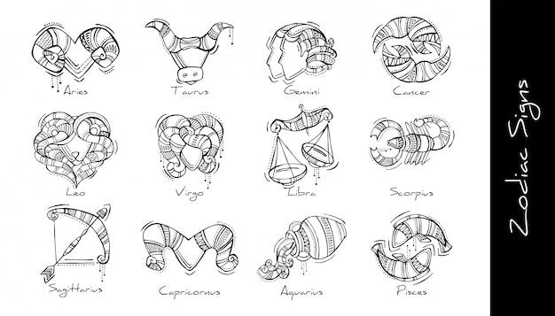Conjunto de ilustração gráfica dos signos do zodíaco no estilo boho. áries, touro, gêmeos, câncer, leão, virgem, libra, escorpião, sagitário, capricórnio, aquário, peixes Vetor Premium