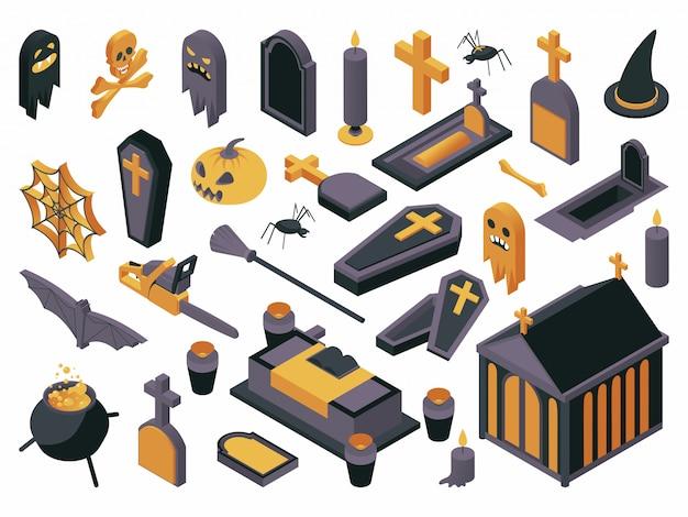 Conjunto de ilustração isométrica de símbolos de halloween. Vetor Premium